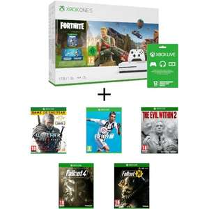 Pack Console Xbox One S (1 To) + Fortnite + FIFA 19 + Fallout 76 + Fallout 4 + The Witcher 3 + The Evil Within 2 + Abonnement Live 1 an