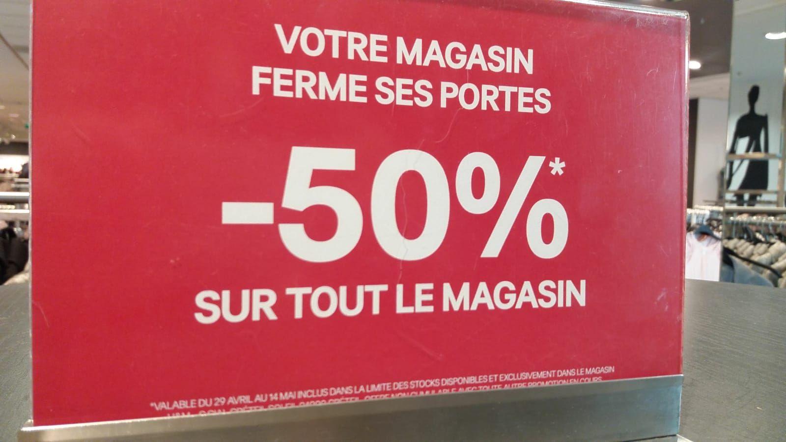 50% de réduction immédiate sur l'ensemble du magasin - Créteil Soleil (94)