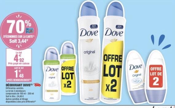 Lot de 2 Déodorants Dove - Variétés au choix (Via Carte de Fidélité)