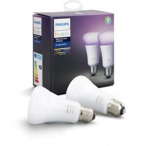 Pack de 2 Ampoules Philips E27 Hue White & Color + 1 Pack offert (soit 25€ l'ampoule Hue Color)