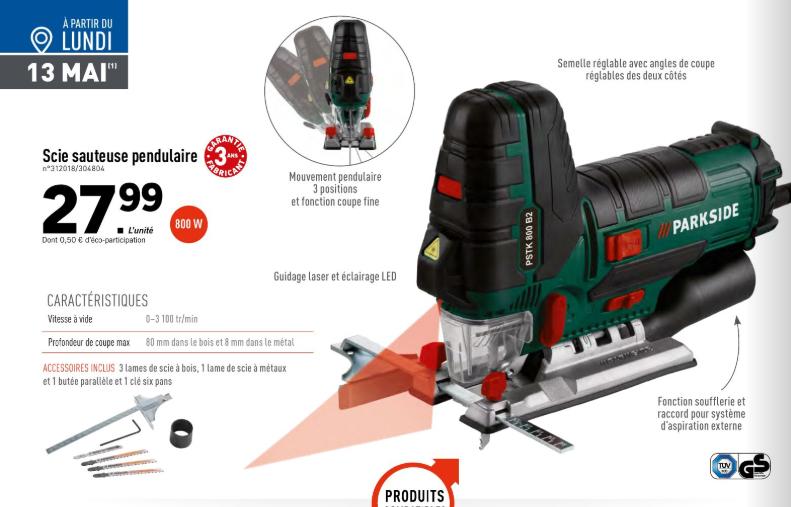 Scie sauteuse à mouvement pendulaire Pakside PSTK 800 B2 - 800W