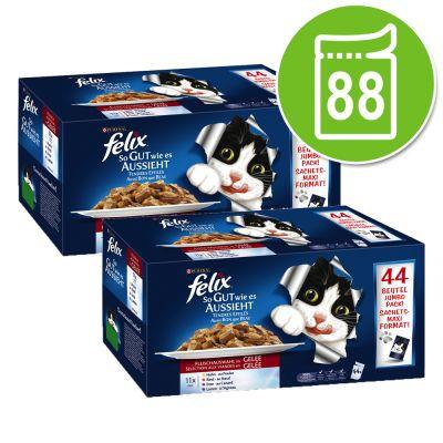 Pack de 88 sachets de nourriture pour chat Felix Tendres Effilés en gelée - Variétés au choix,  88 x 100 g