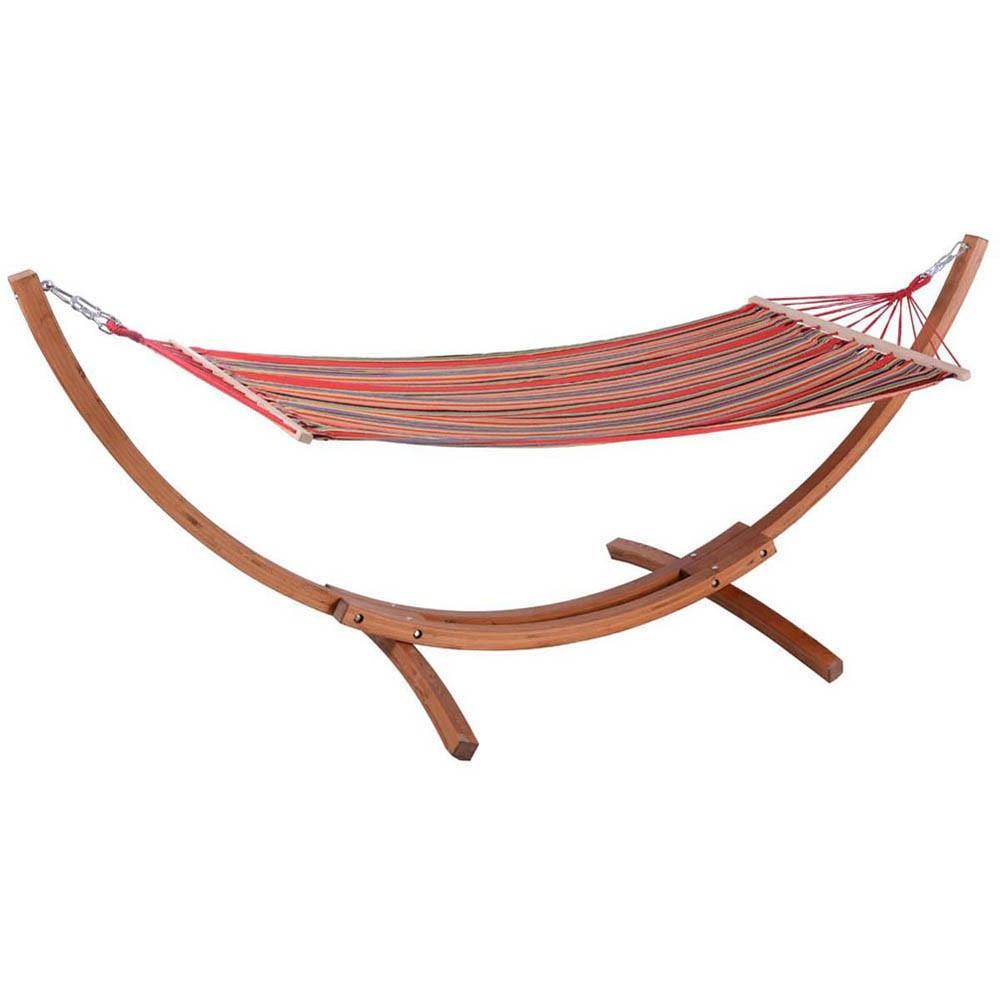Hamac avec support en bois et toile rouge multicolore - 3M