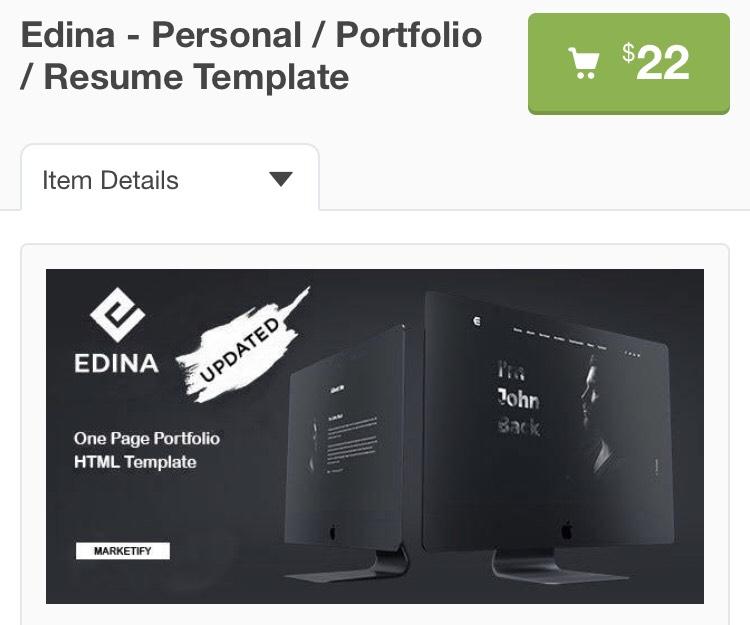 "Template HTML ""Edina - Personal / Portfolio / Resume"" Gratuit (Dématérialisé)"