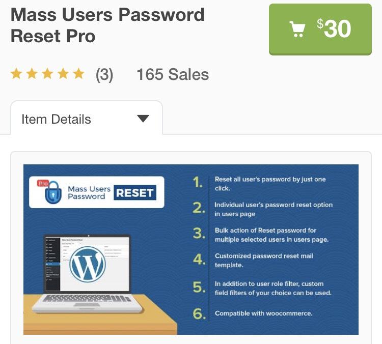 "Plugin WordPress ""Mass Users Password Reset Pro"" Gratuit (Dématérialisé) - codecanyon.net"