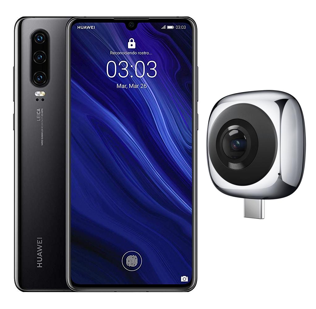 """Smartphone 6.1"""" Huawei P30 - RAM 6Go, ROM 128 Go Noir (Version Espagnole) + Caméra Huawei EnVizion 360"""