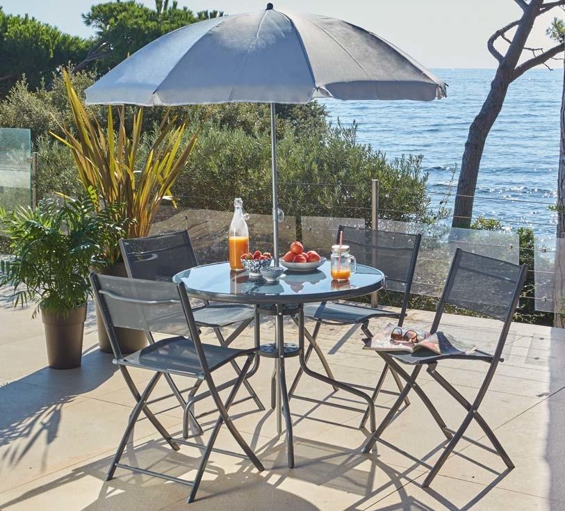 Ensemble déjeuner 6 pièces (table pliante + 4 chaises pliantes + parasol)