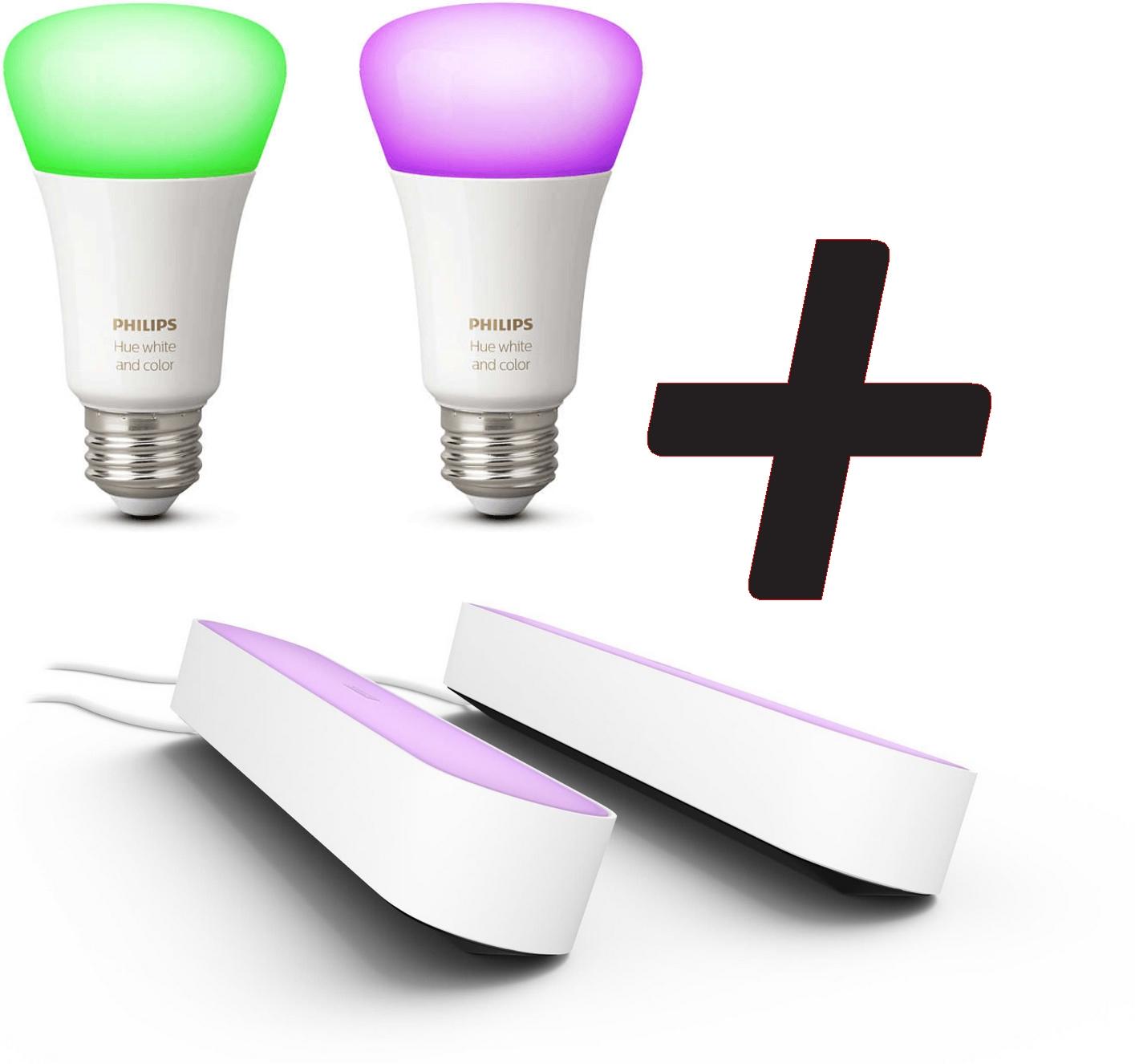 65€ remboursés dès 210€ de produits Philips Hue achetés (via ODR) - Ex : 2 ampoules LED E27 White & Colors + 2 lampes Hue Play à 164.98€