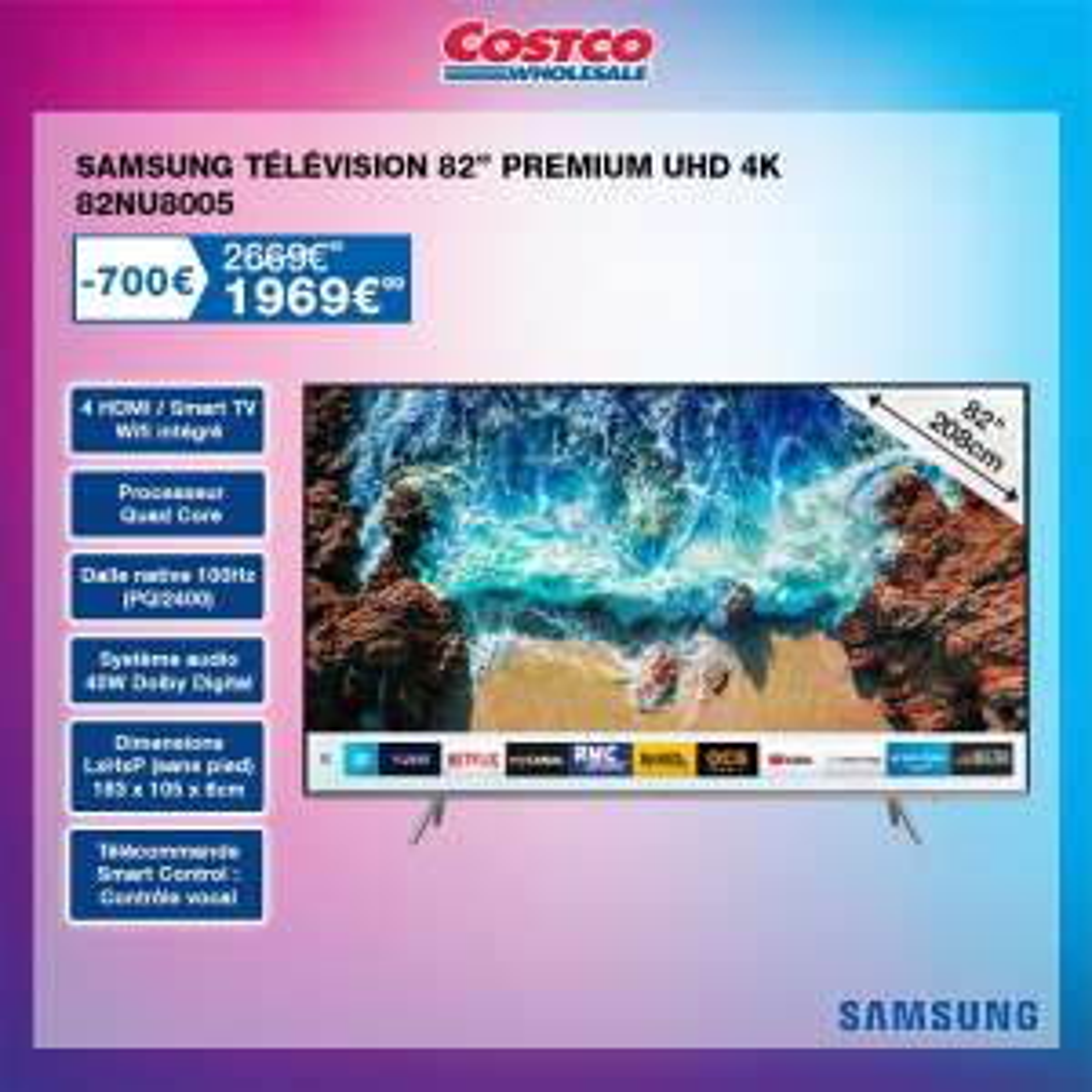 "[Carte CostCo] TV 82"" Samsung NU8005 - 4K UHD, Smart TV (Villebon-sur-Yvette 91)"