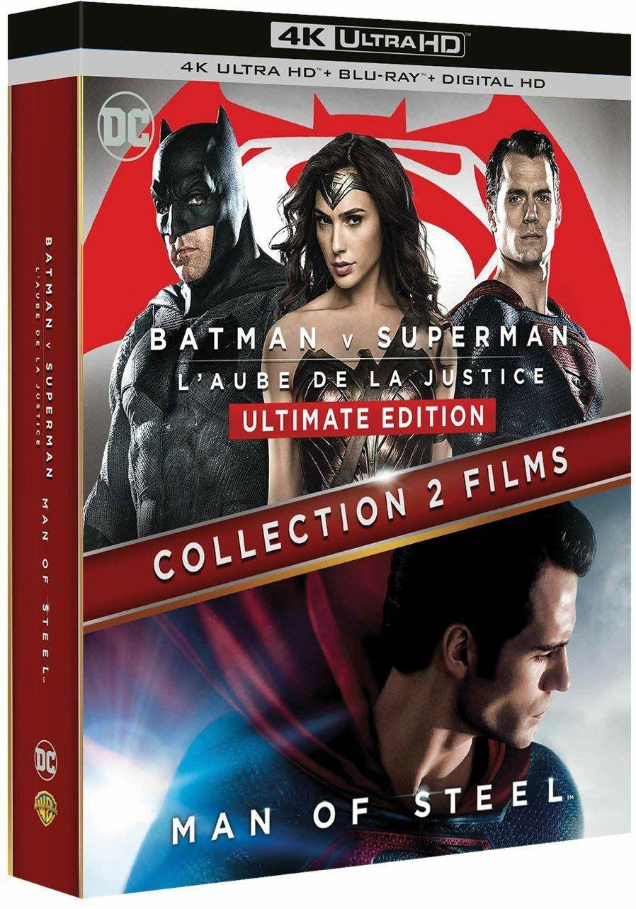 Coffret 2 Films Blu-Ray 4K DC Comics - Batman vs Superman + Man of Steel