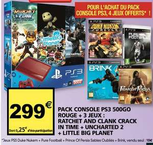 Console Sony PS3 Rouge 500 Go + 7 jeux (Little Big Planet, Uncharted 2...)