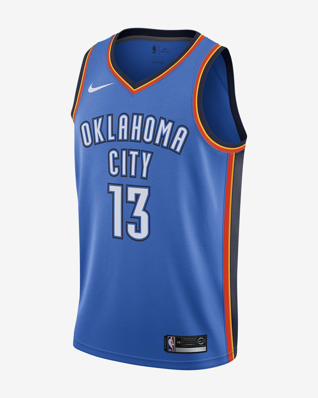 Sélection de maillots de basket-ball connectés Nike Swingman Thunder d'Oklahoma City - Ex : Paul George (du M au XXL)