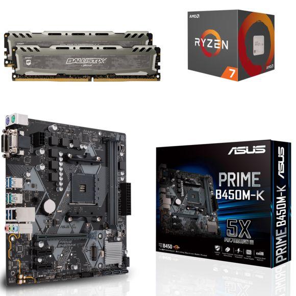 Kit de mise à jour AMD : Processeur AMD Ryzen 5 2600 + Carte mère Asus Prime B450M-K + 16 Go de RAM DDR4 Ballistix Sport LT