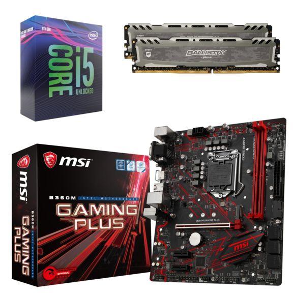 Processeur Intel Core i5 9400F + Carte mère B360M Gaming Plus + Kit Mémoire Ballistix Sport LT 16 Go (2 x 8Go)