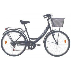 """Vélo 26"""" City avec panier et porte bagage cadre acier pour Femme (via 10€ sur la carte fidélité)"""