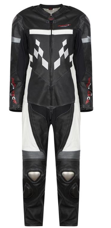 Combinaison en cuir Rider-Tec 1 pièce - Taille au choix (protections EVO dorsale, coudes, épaules, genoux incluses)