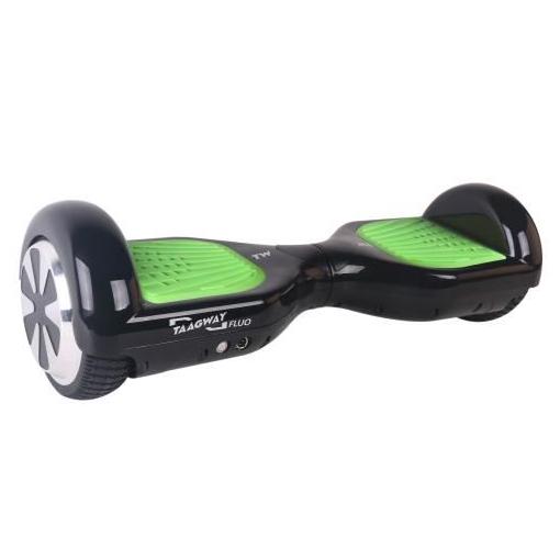 """Hoverboard 6,5"""" Taagway Fluo - Noir avec pédales vertes (2 x 350W)"""