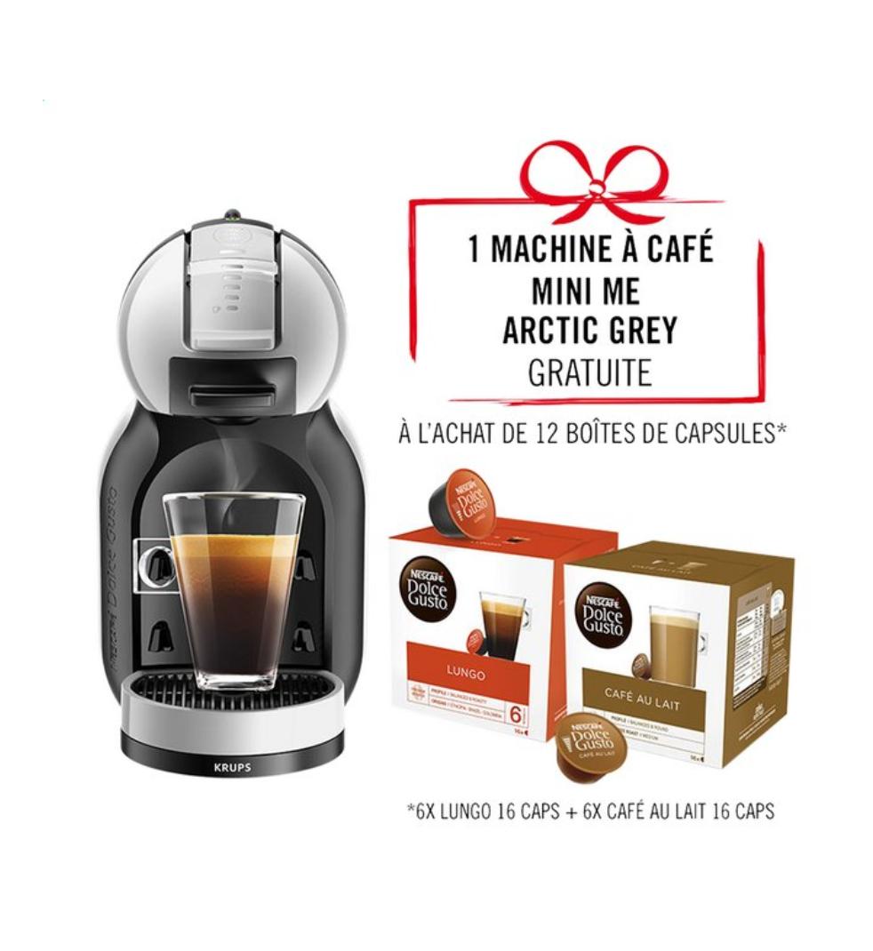 Machine à café Dolce Gusto Mini Me Artic Grey + 12 boîtes de capsules (Frontaliers Belgique)