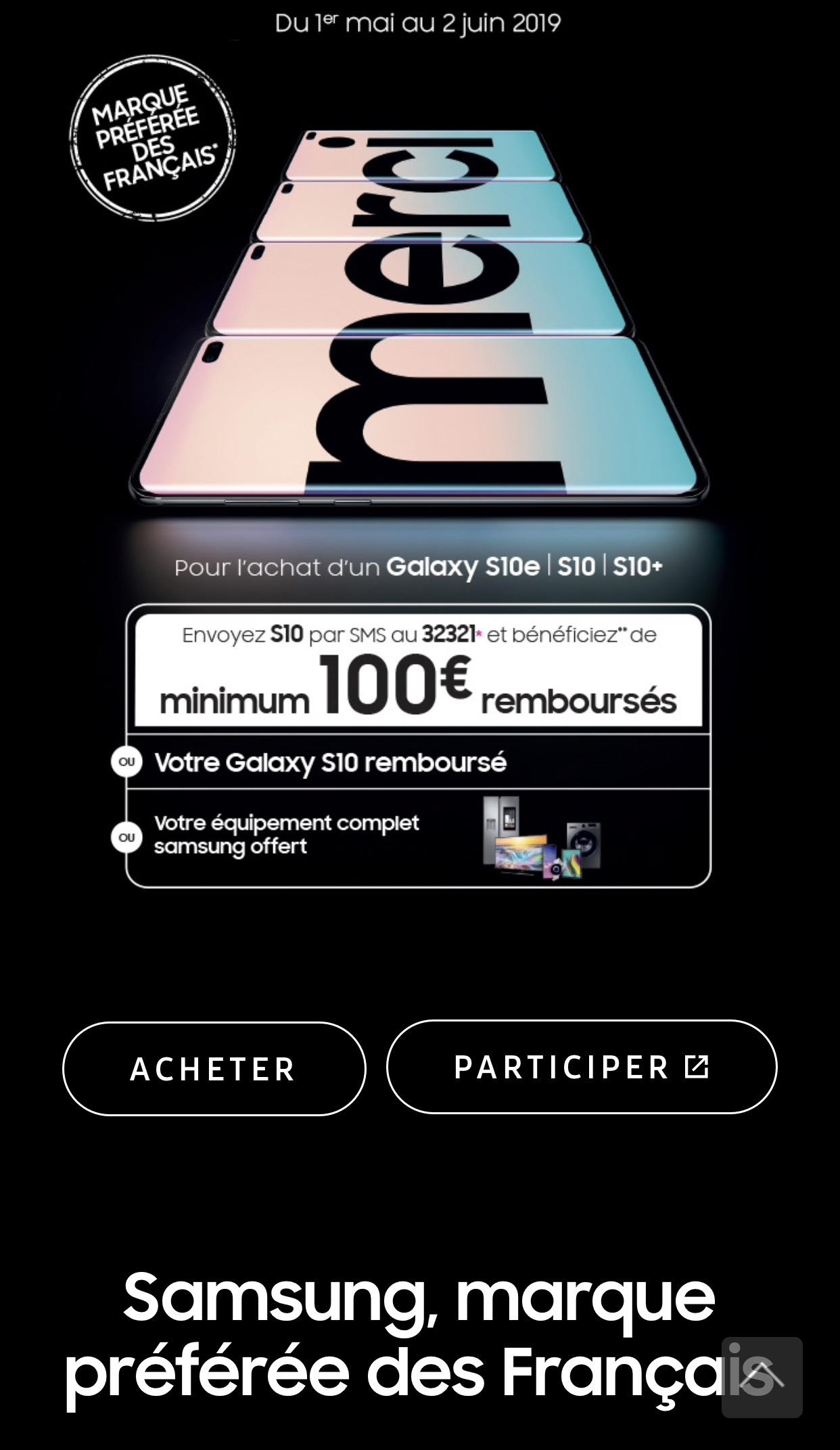 100€ remboursé pour l'achat d'un S10, S10e ou S10+ ou possibilité de gagner un téléphone (via 100€ d'ODR)