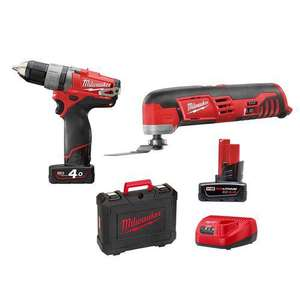 Ventes privées Milwaukee - Ex : Pack perceuse visseuse + Outil multifonctions 12V Li-Ion + 2 batteries 4Ah - 2Ah + Coffret