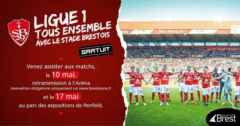 Retransmission du match de Football de Ligue 2 Brest / Niort Gratuite à l'Arena de Brest