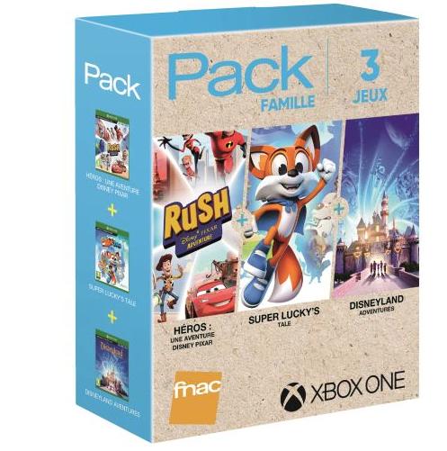 Pack 3 Jeux Famille sur Xbox One: Rush Une aventure Disney Pixar + Super Lucky's Tale + Disneyland Adventures (+ 10€ sur le Compte Fidélité)