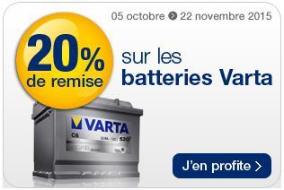 20% de réduction sur les batteries Varta et jusqu'à 15€ en bon d'achat sur la reprise de votre ancienne batterie