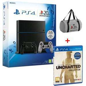 Console Sony PS4 1 To + Uncharted Collection + 2ème Manette Dual Shock 20ème anniversaire + Sac PlayStation Anniversaire ou Console Sony PS4 1 To + Assassin's Creed Syndicate + Watch Dogs + Uncharted Collection + Sac PlayStation Anniversaire