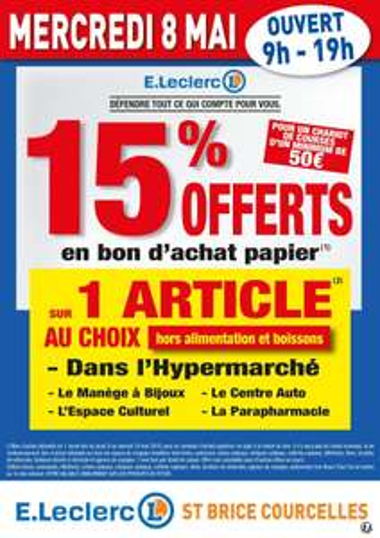 15% en bon d'achat dès 50€ d'achat (sous conditions)- Saint Brice Courcelles (51)