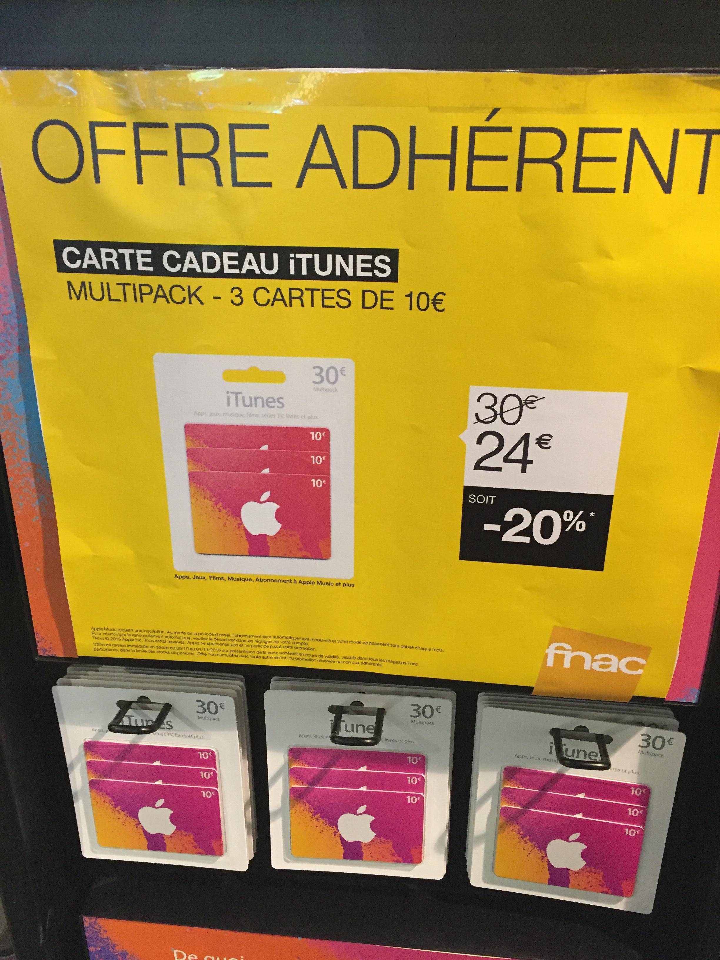 [Adhérents] Lot de 3 Cartes cadeau iTunes de 10€