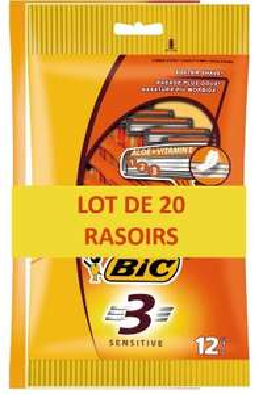 Lot de 20 rasoirs jetables Bic 3 Sensitive