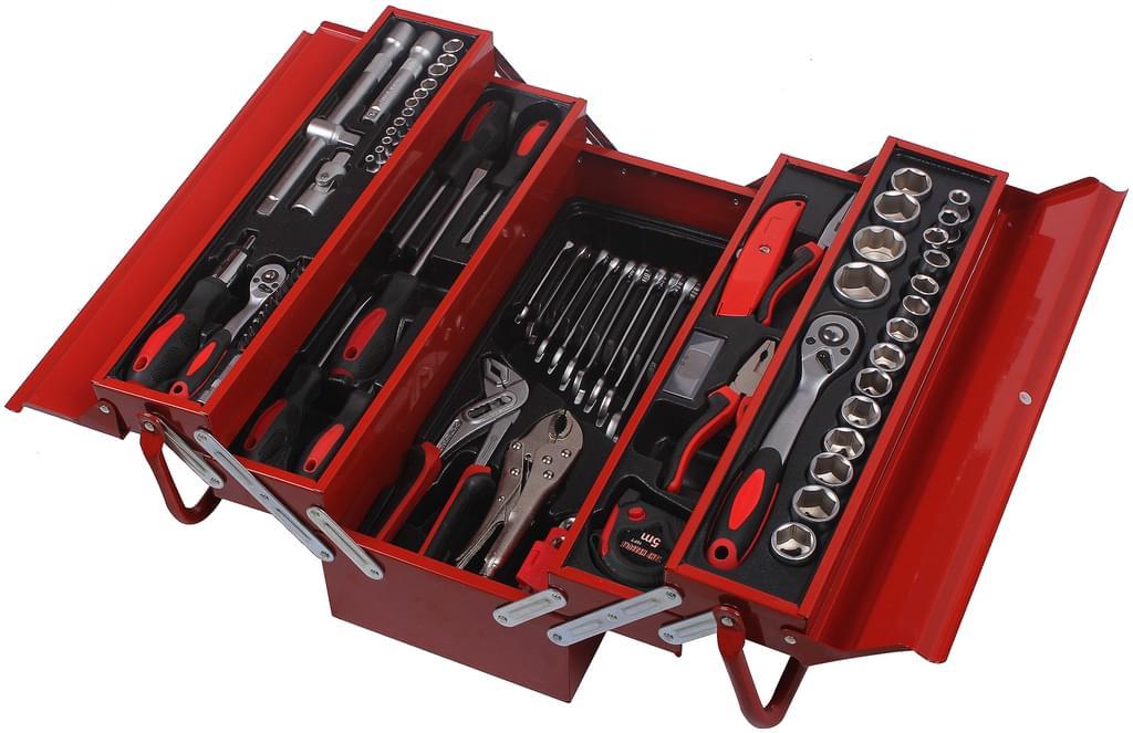 Boîte à outils en acier carbone et chrome vanadium Atrox AY0547 - 88 pièces avec boîte de transport (Real.de - Frontaliers Allemagne)