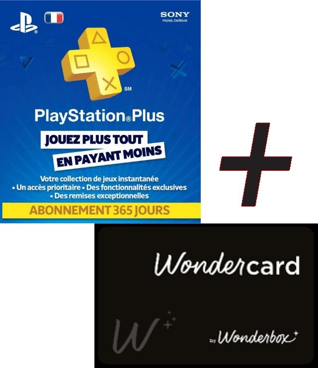 Abonnement d'un an au PlayStation Plus + carte-cadeau Wonderbox de 20€ (dématérialisés)