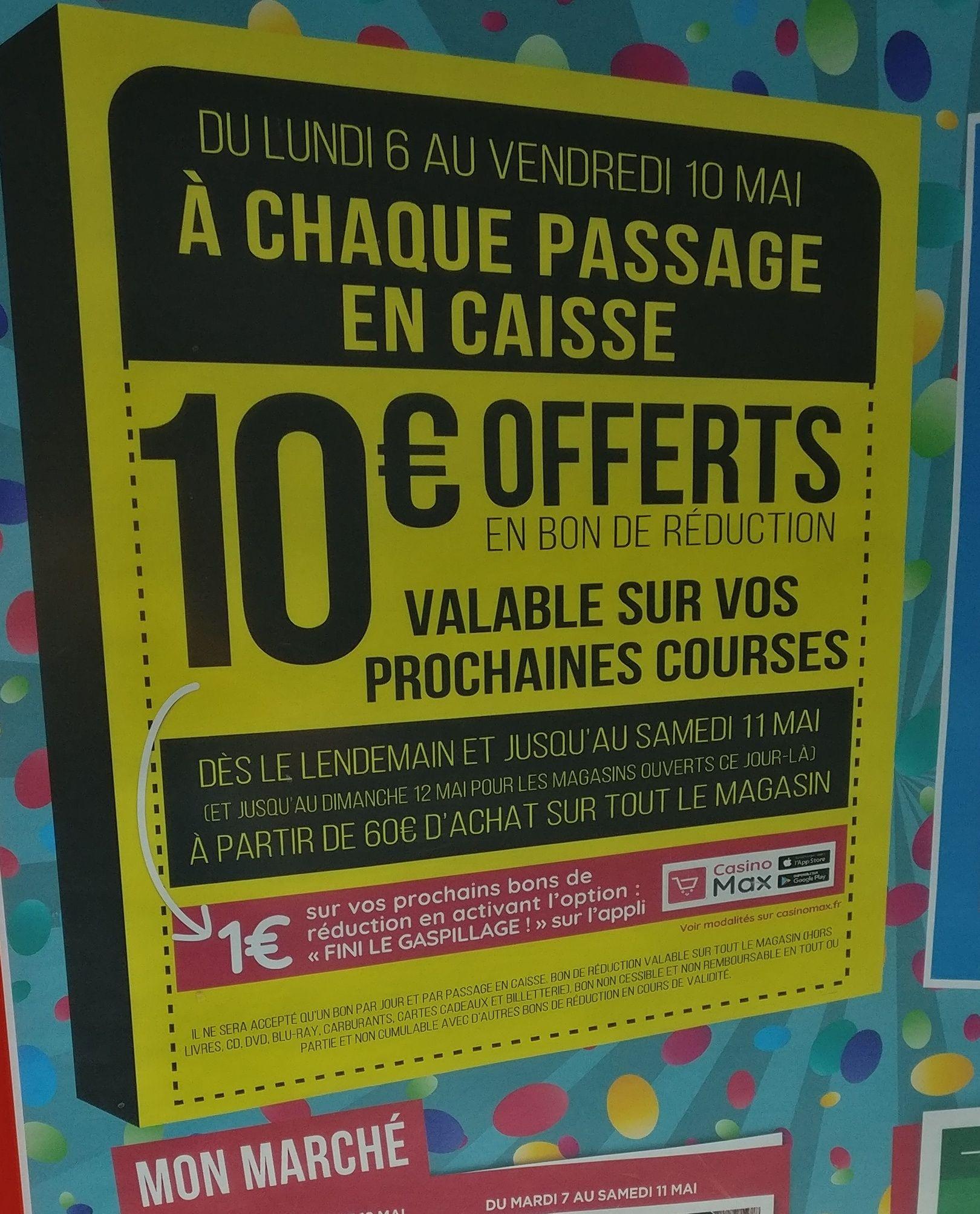 10€ offerts en bon de réduction dès 60€ d'achat - Odysseum (34)