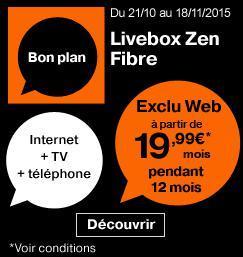 Jusqu'à -40% sur la Livebox Fibre - Ex : Abonnement mensuel Livebox Zen Fibre pendant 1 an (location comprise)