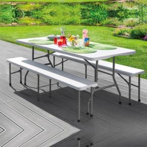 Table de jardin pliable Frandis - 180x70x74 cm, blanc