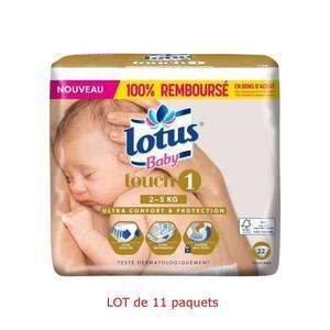 Lot de 11 Paquets de Couches Lotus Baby Touch (Taille 1) - 11 x 22 (242 Couches)