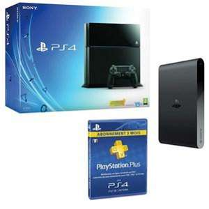 Console Sony PS4 500 Go Noire + Abonnement Playstation Plus 3 mois + PS TV