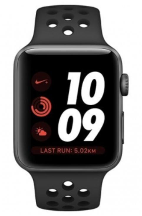 Montre connectée Apple Watch Series 3 Nike+ (GPS) - Gris Sidéral, 38mm avec Bracelet Sport Noir MQKY2