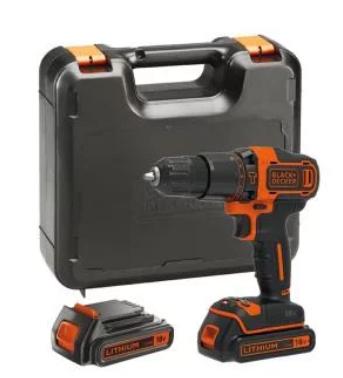 Perceuse visseuse avec option marteau perforateur Black + Decker 18 V + 2 batteries + malette