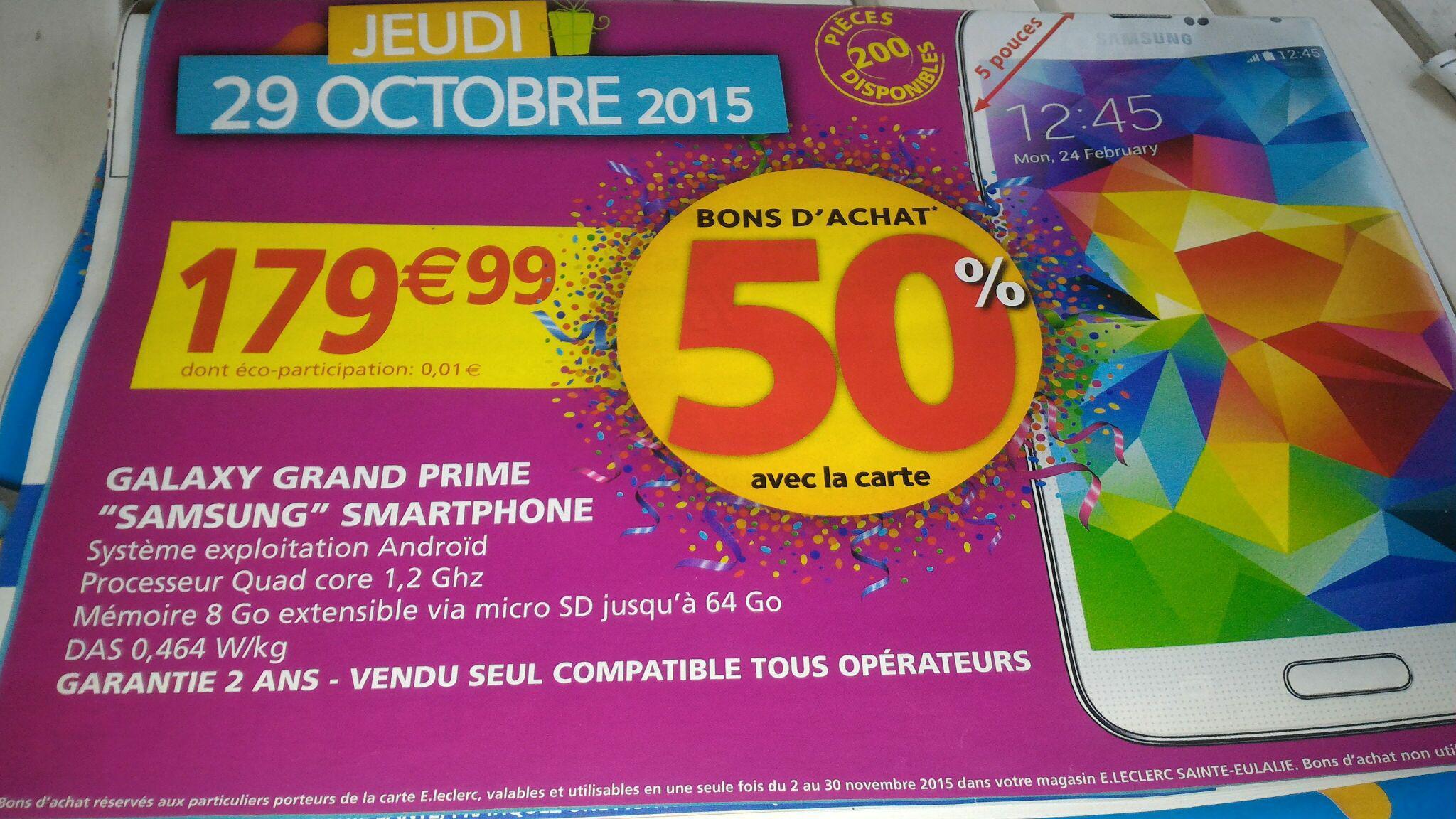 "Smartphone 5"" Samsung Galaxy Grand Prime (50% en bons d'achat avec la carte)"