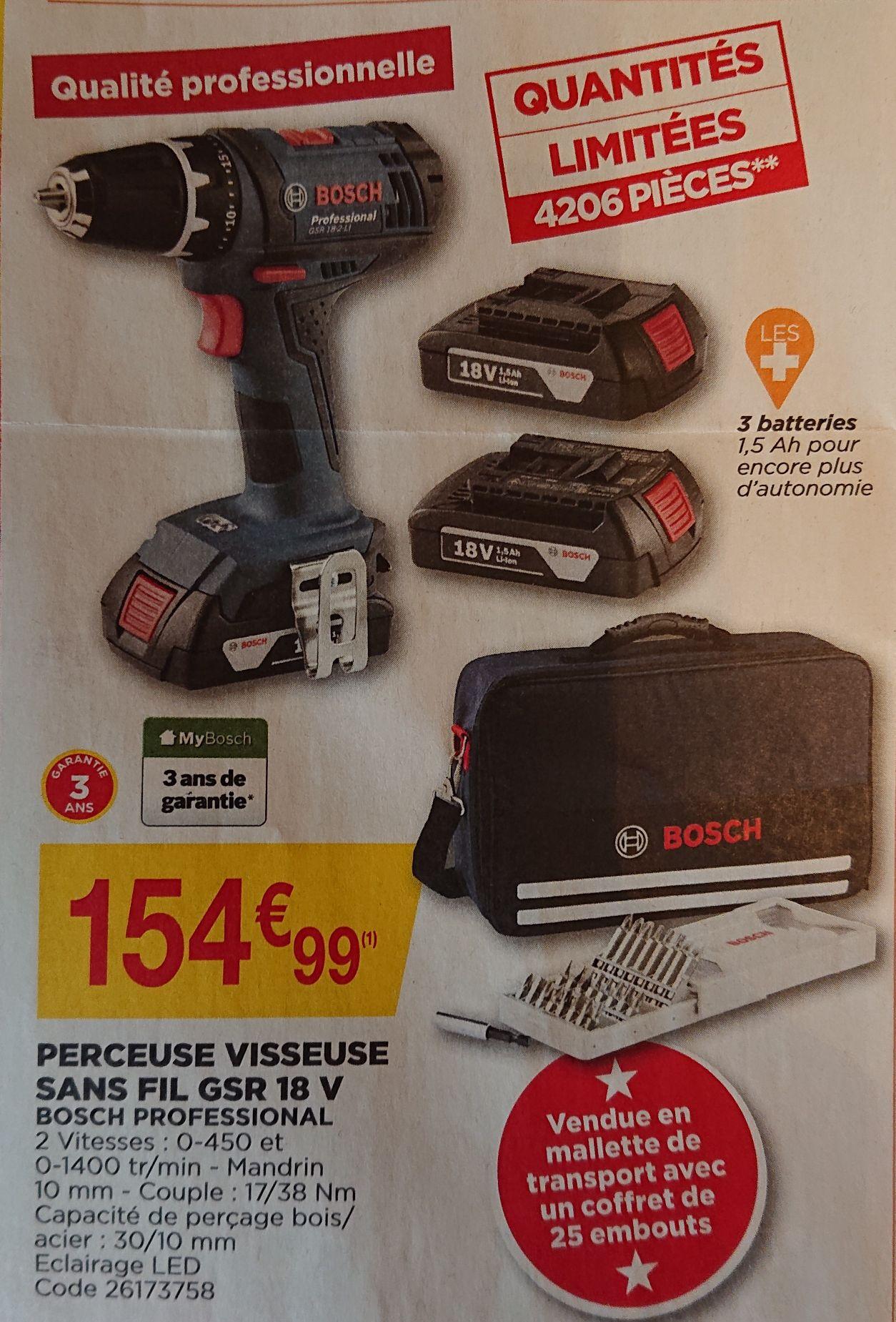 Coffret perceuse-visseuse Bosch Professional GSR 18-2 Li (18 V) + 3 batteries (1.5 Ah) + accessoires (+ 23.25€ sur la carte de fidélité)