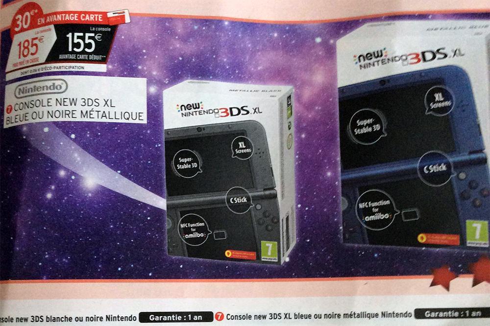 Console Nintendo New 3DS XL Bleue ou Noire (Avec 30€ sur la carte de fidélité)