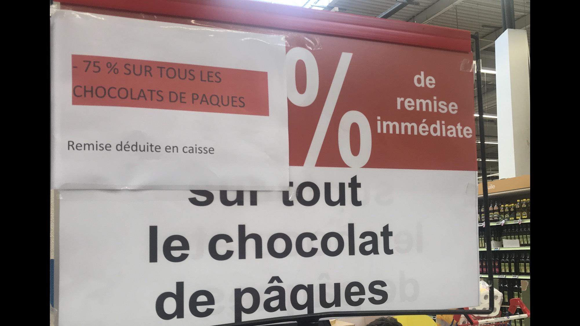 75% de remise sur tous les chocolats de Pâques (Aulnay-sous-Bois 93)