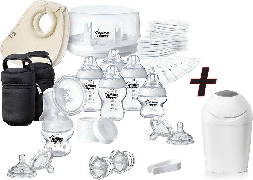 Kit d'allaitement et stérilisateur Tommee Tippee Closer to Nature (72 pièces) + poubelle Tommee Tippee Sangenic Tec (blanc)