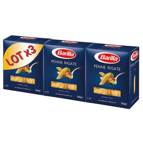Lots de 3 paquets de pâtes Barilla - 500g (Variété au choix)