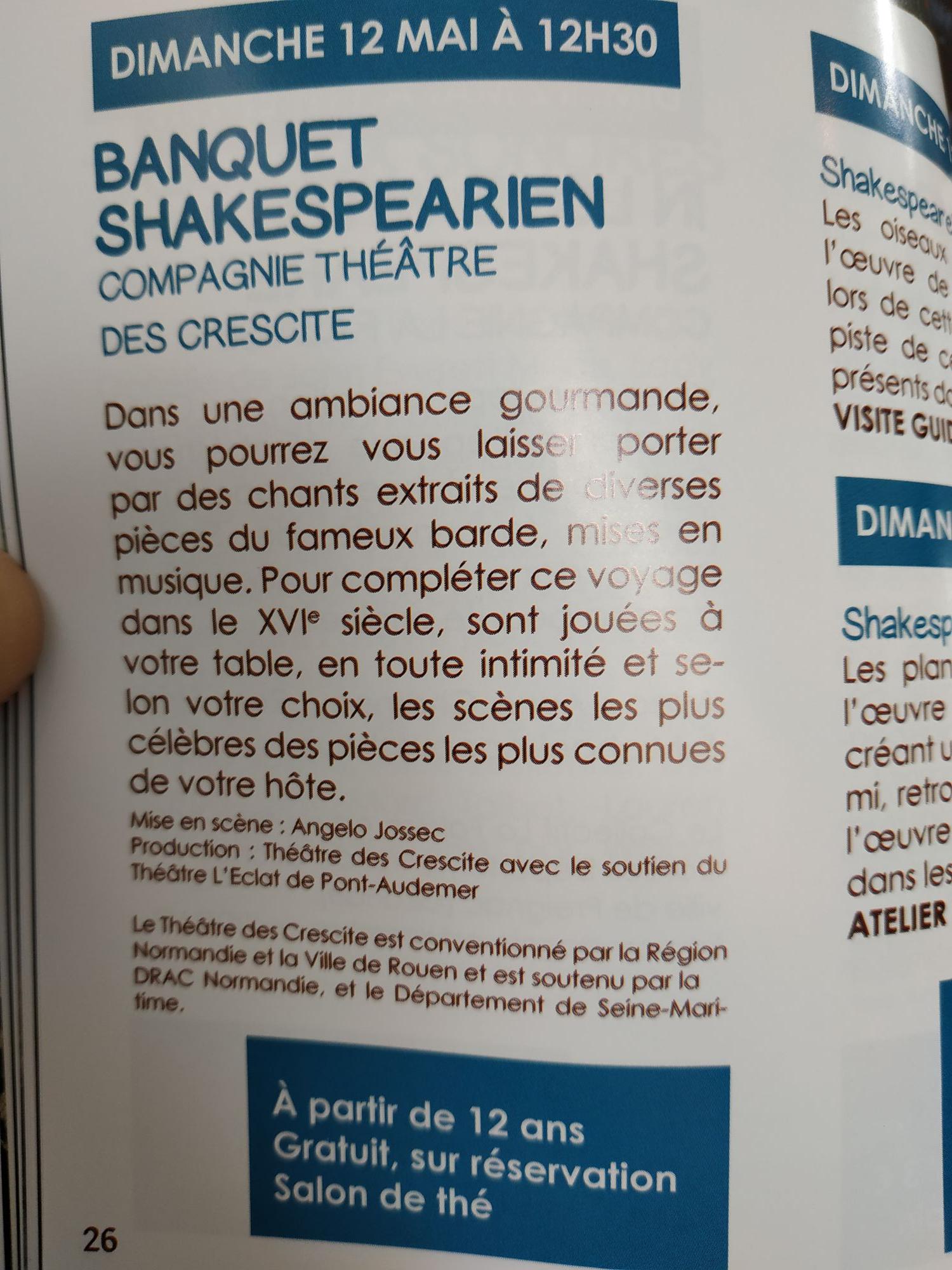 Banquet et représentation de pièces de théâtre de Shakespeare gratuite - Château d'Hardelot - Condette (62)
