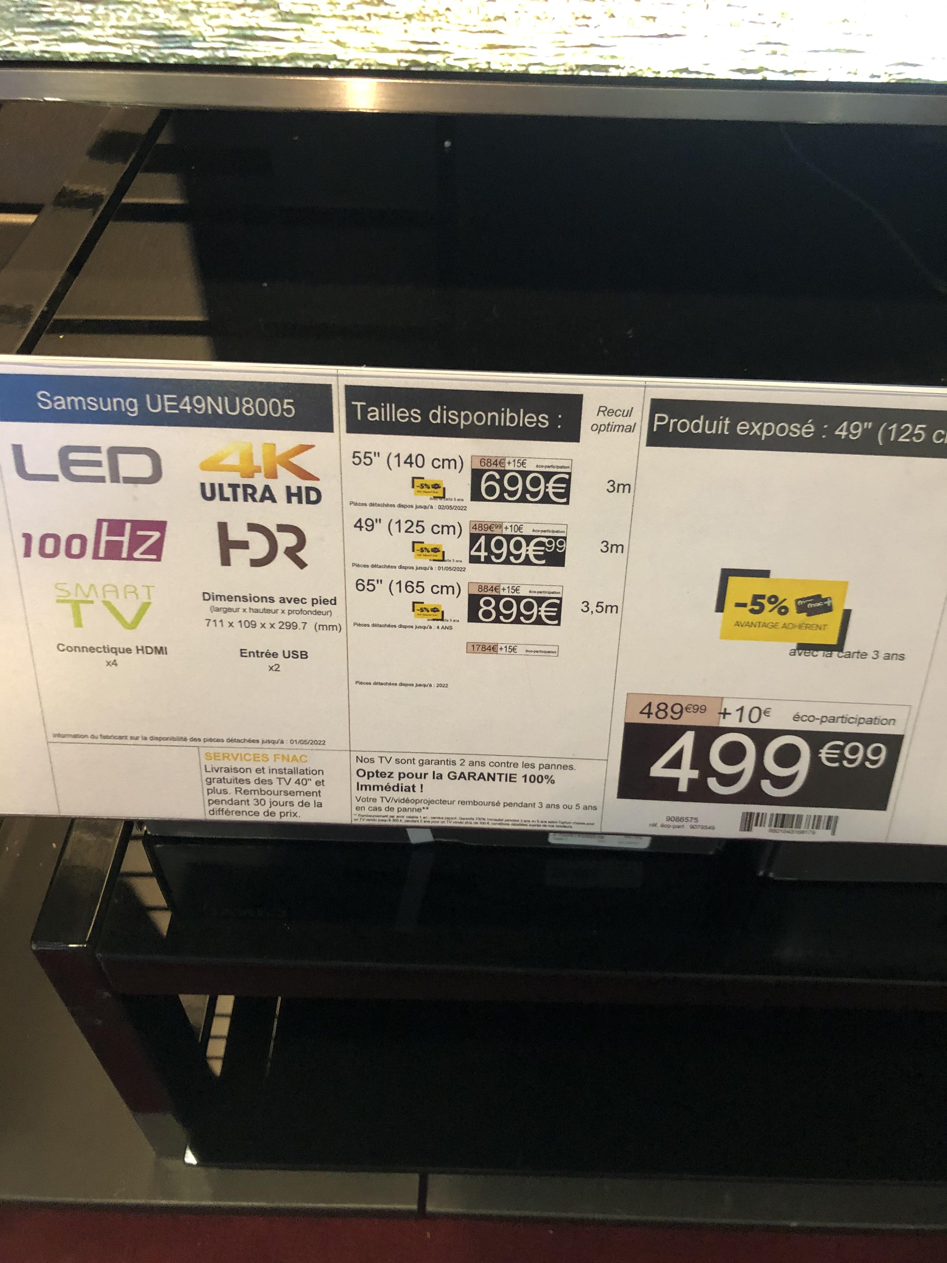 """TV 49"""" Samsung UE49NU8005 - 4K UHD - Belfort (90) / Mulhouse & Colmar (68)"""