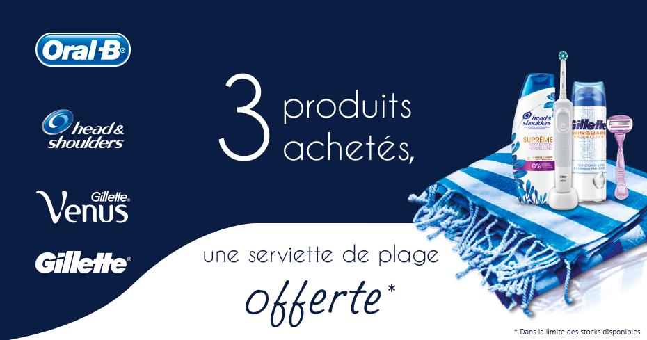 Une serviette de plage offerte pour l'achat de 3 produits de beautés parmi une sélection de marques Procter & Gamble (via ODR)