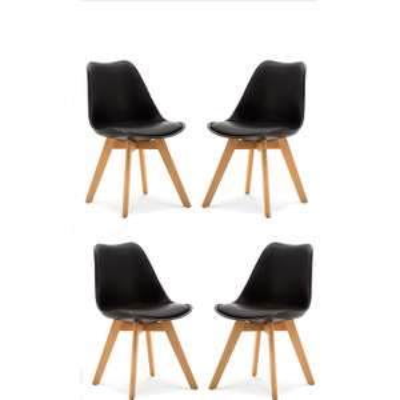 Lot de 4 chaises scandinaves matelassées - Couleur Noir, Gris ou Blanc (vendeur tiers)